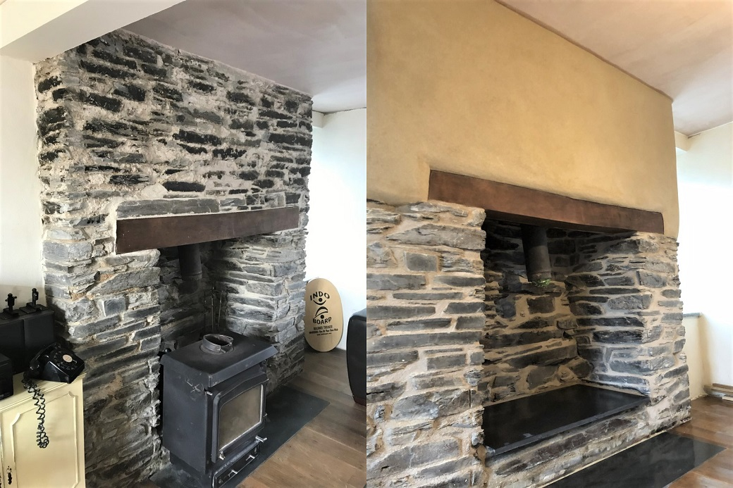 Lime Rendering and Lime Pointing Fireplace Delabole