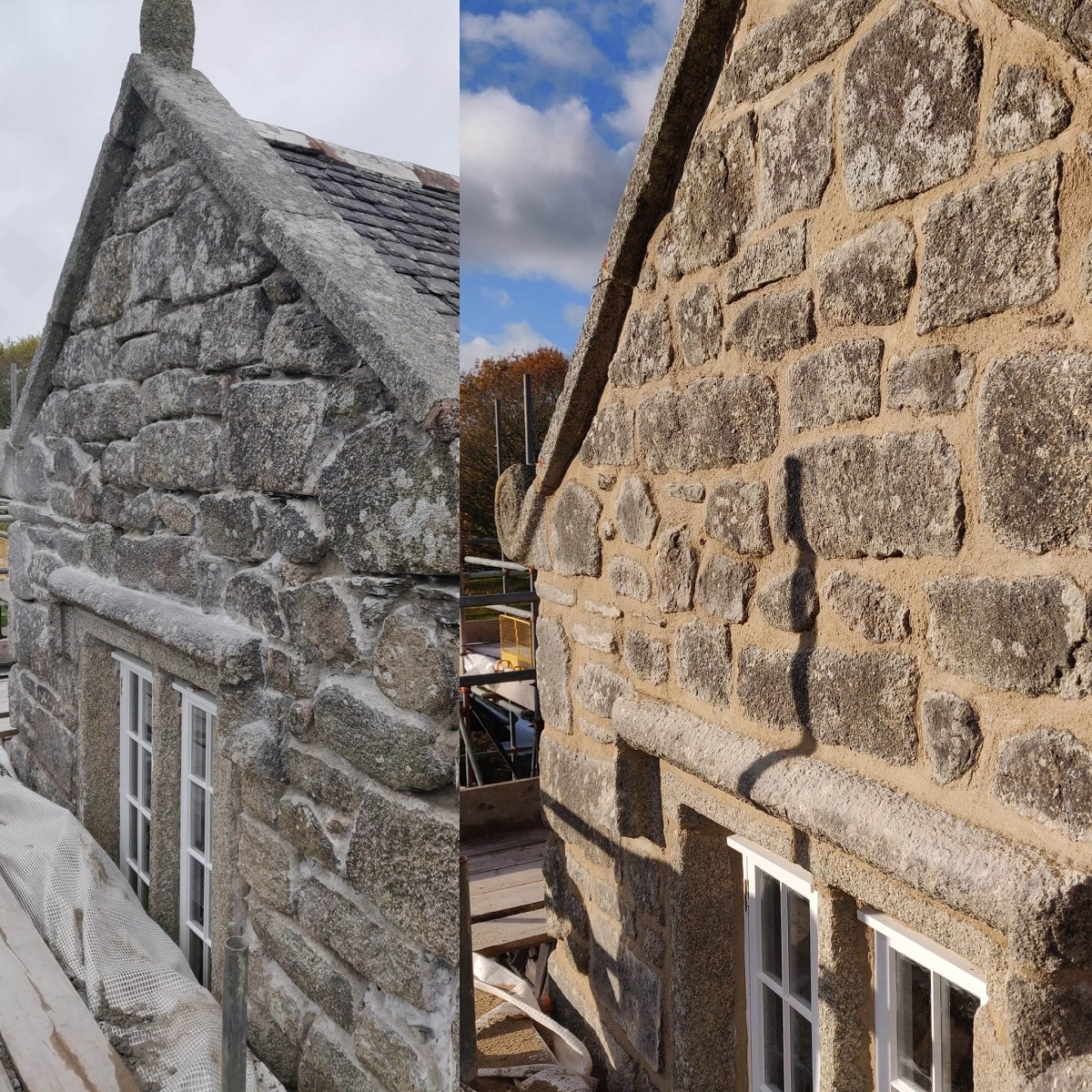 Before and After Lime Pointing Cornwall