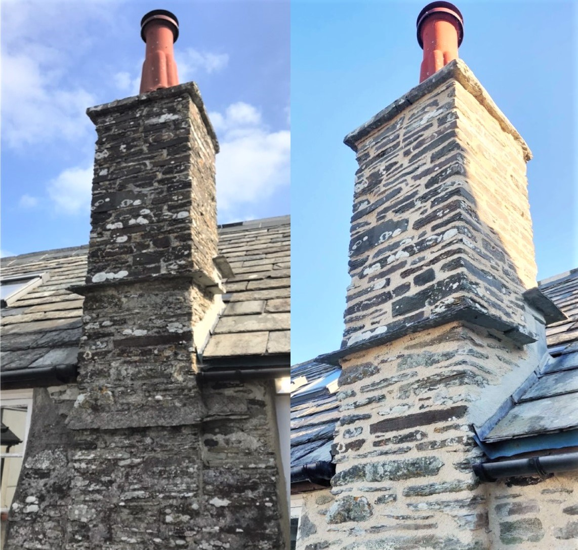 Lime Pointing Chimney Tintagel Cornwall