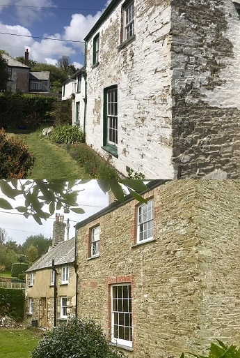 Lime Pointing and Lime Rendering Cob Cottage Cornwall