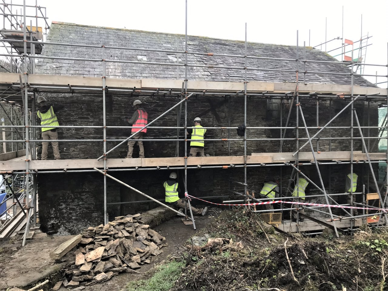Raking Out of Existing Cement Pointing Cornwall