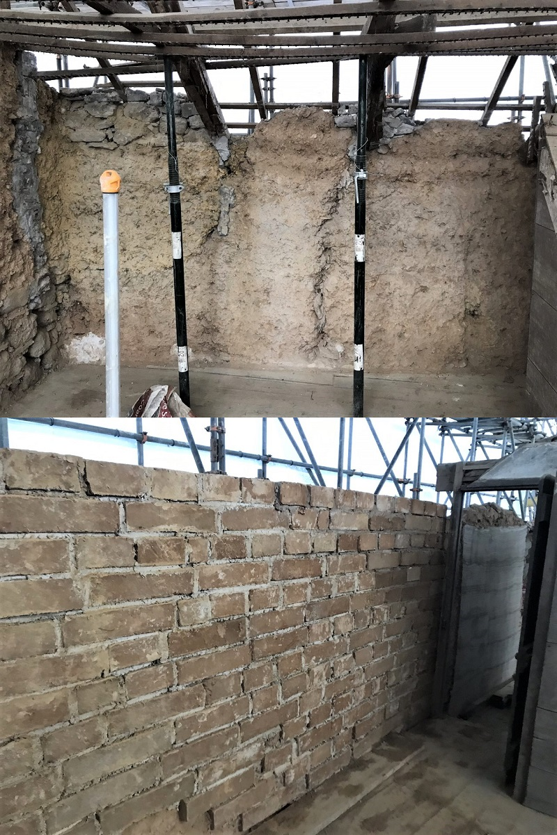 Cob Wall Rebuild Cornwall